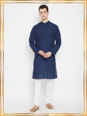 Blue Solid Pintuck Cotton Crafted Kurta