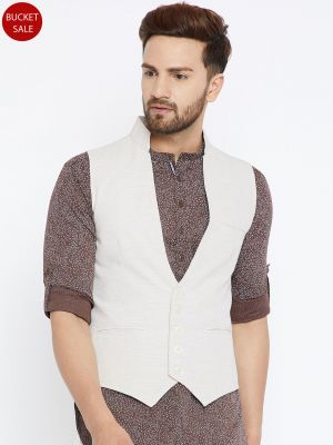 Off White Solid Waistcoat
