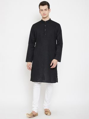 Set of 2- Solid Pintuck Crafted Kurta with White Churidar