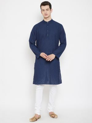 Set of 2- Solid Pintuck Blue Crafted Kurta with White Churidar