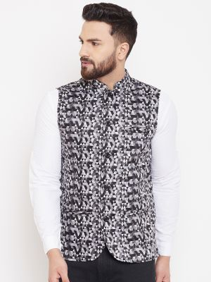 Black and White Abstract Print Nehru Jacket