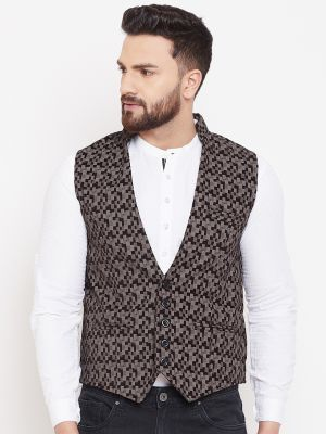 Printed Brown Pure Cotton Waistcoat